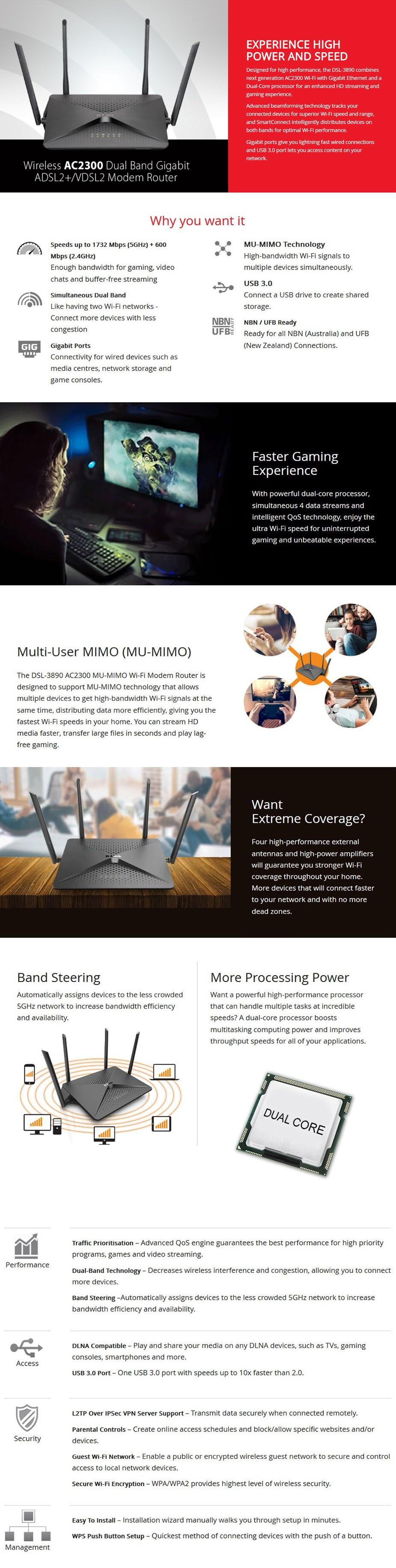 D-Link DSL-3890 AC2300 Dual-Band MU-MIMO DSL2/ADSL2+ Modem Router - Desktop Overview 1
