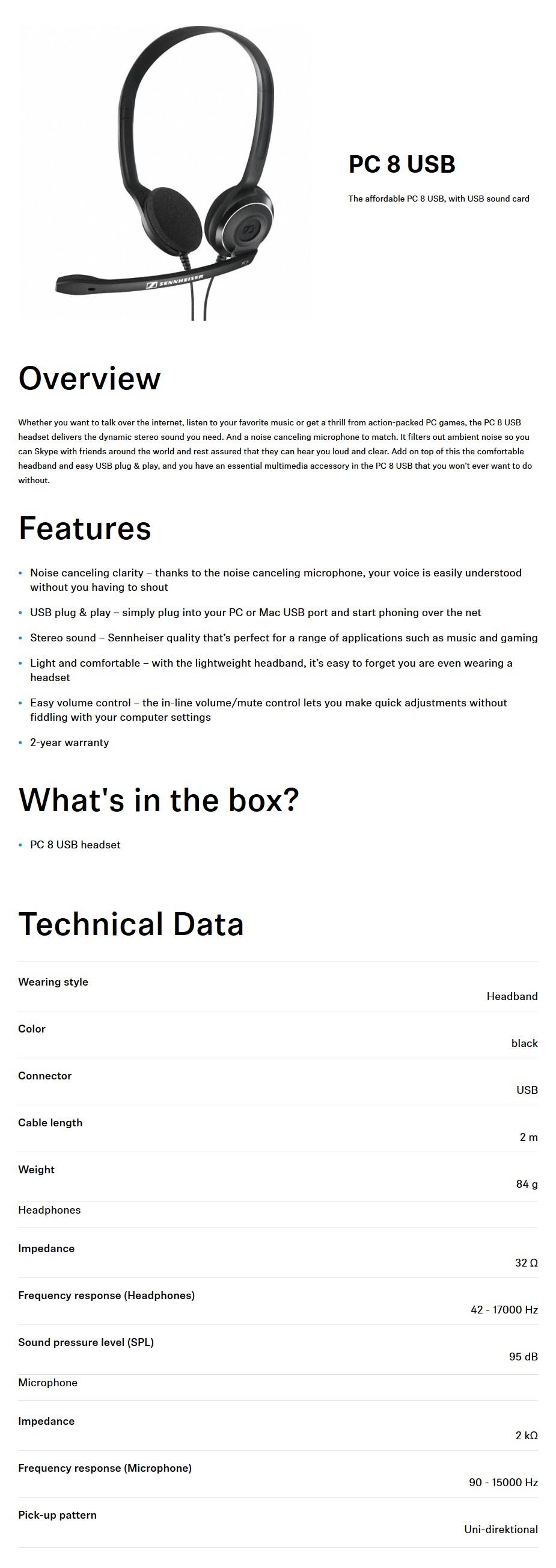 Sennheiser PC 8 USB Stereo Headset - Desktop Overview 1