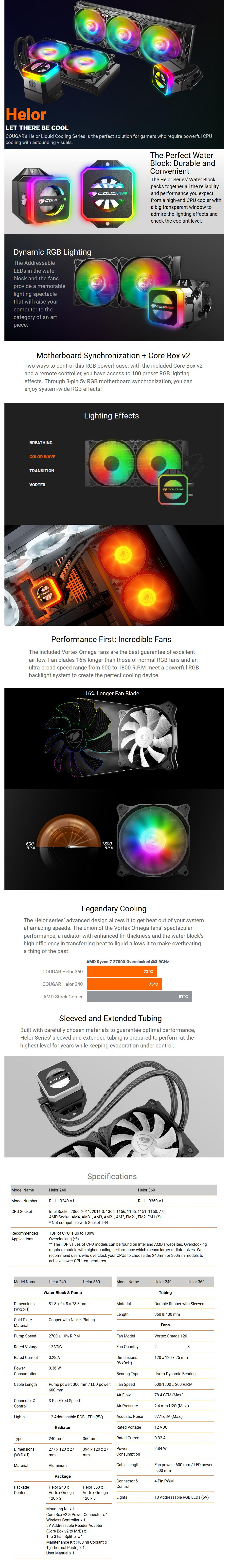 Cougar Helor 240 RGB AIO Liquid CPU Cooler - Desktop Overview 1