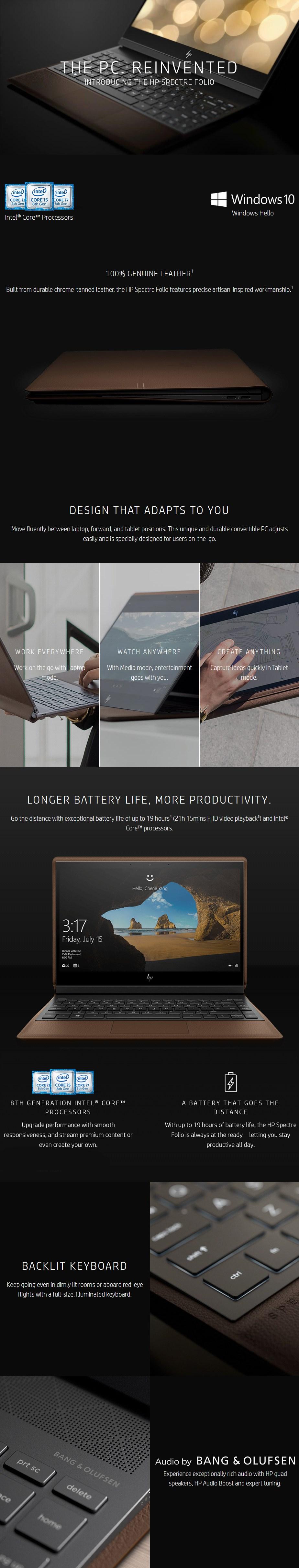 "HP Spectre Folio 13.3"" Tablet i7-8500Y 16GB 512GB Win10 Home - Desktop Overview 1"