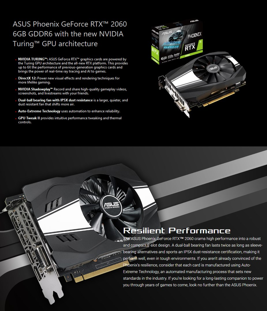 ASUS GeForce RTX 2060 Phoenix 6GB Video Card - Desktop Overview 1