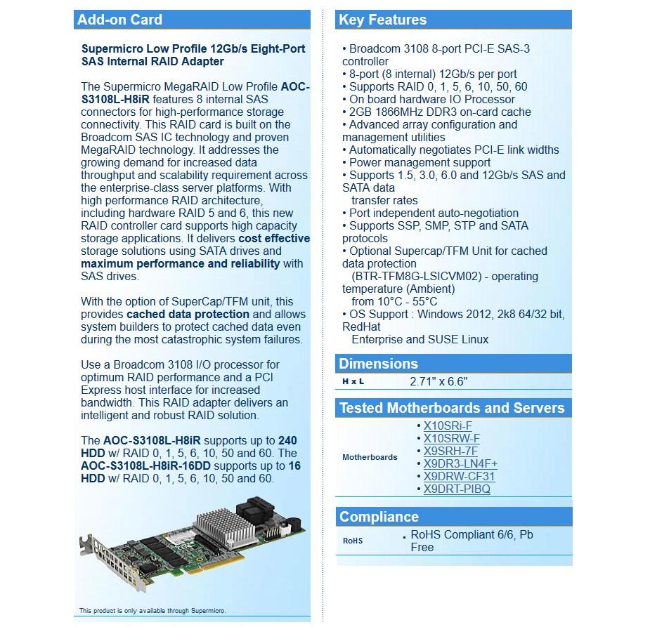 Supermicro 8 Port LSI3108 12G/s SAS Internal RAID Adapter - Desktop Overview 1