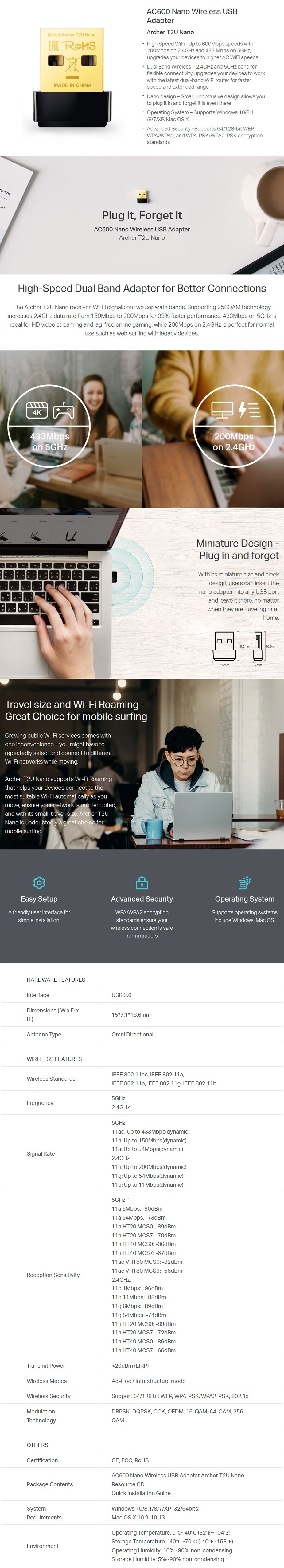 TP-Link Archer T2U AC600 Nano Wireless USB Adapter - Desktop Overview 1