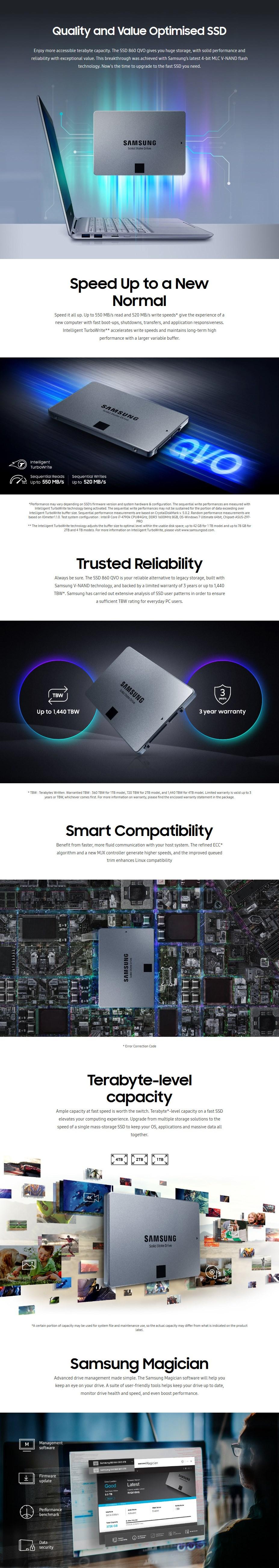 """Samsung 860 QVO 1TB 2.5"""" SATA III 6GB/s 4-Bit MLC V-NAND SSD MZ-76Q1T0BW - Desktop Overview 1"""