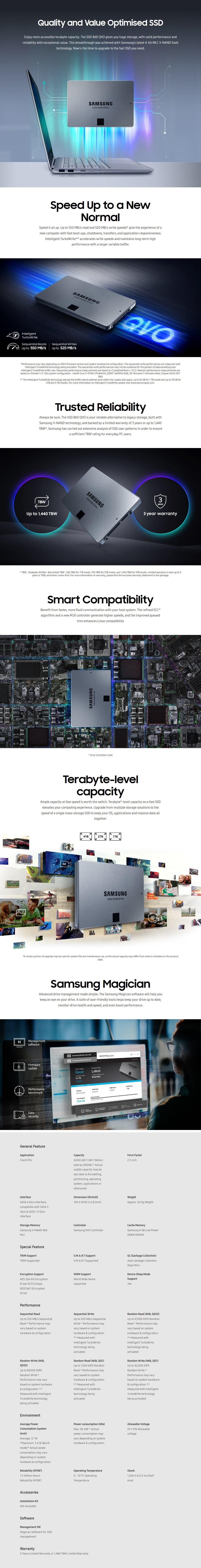 """Samsung 860 QVO 4TB 2.5"""" SATA III 6GB/s 4-Bit MLC V-NAND SSD MZ-76Q4T0BW - Desktop Overview 1"""