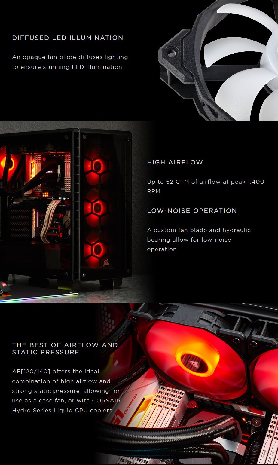 Corsair AF Series AF120 LED 120mm Fan - Red - Desktop Overview 1