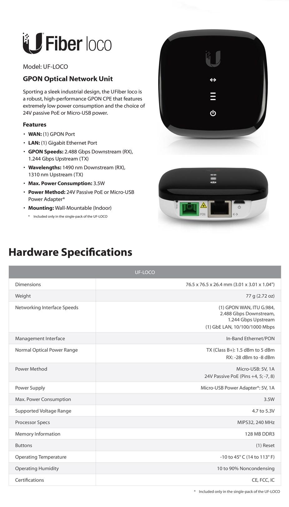 Ubiquiti Networks UFiber Loco Gigabit Passive Optical Network CPE - Desktop Overview 1