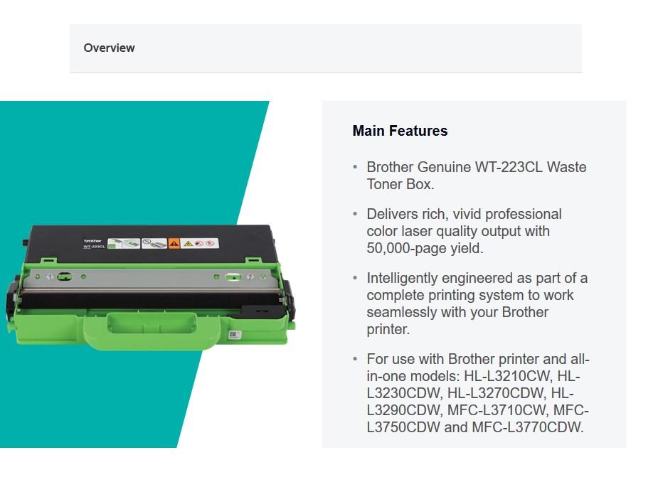 Brother Waste Toner Box - WT223CL   Mwave com au