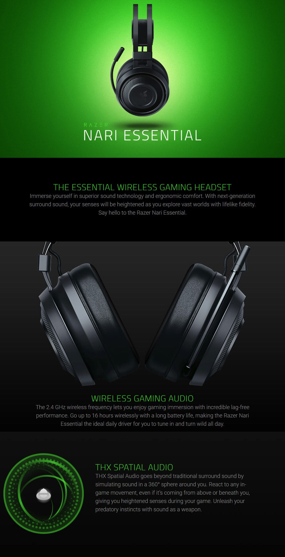 Razer Nari Essential Wireless Gaming Headset - Desktop Overview 1