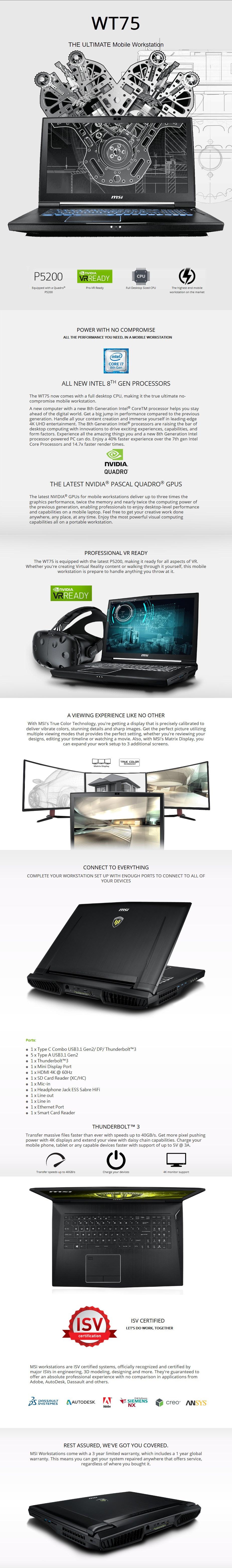 "MSI WT75 8SM 17.3"" 4K Workstation Notebook Xeon 32GB 512GB+1TB Quadro P5200 W10P - Desktop Overview 1"