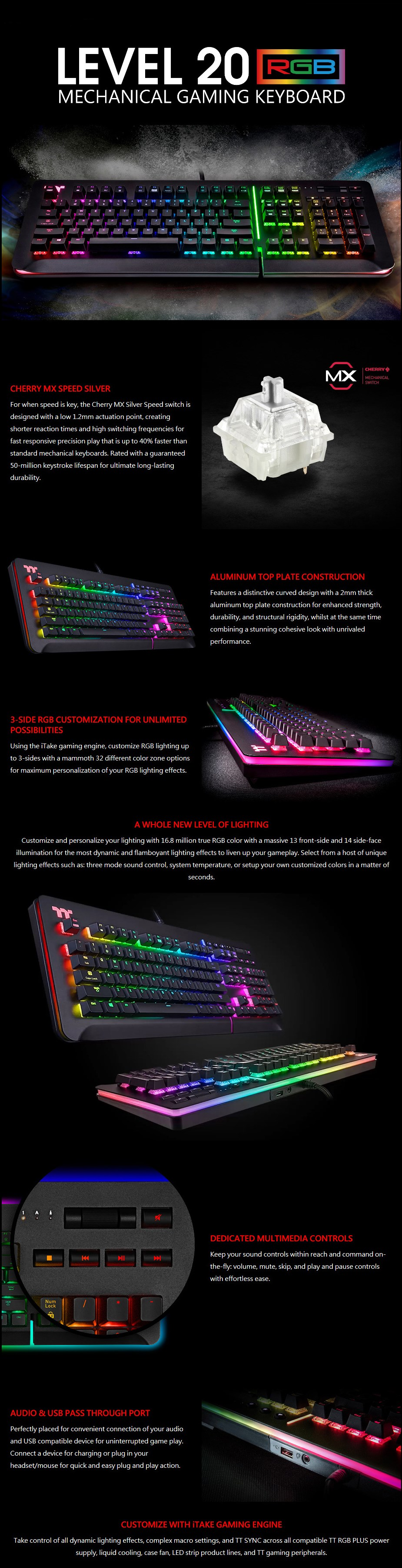 Thermaltake Level 20 RGB Mechanical Gaming Keyboard - Cherry MX Speed Silver