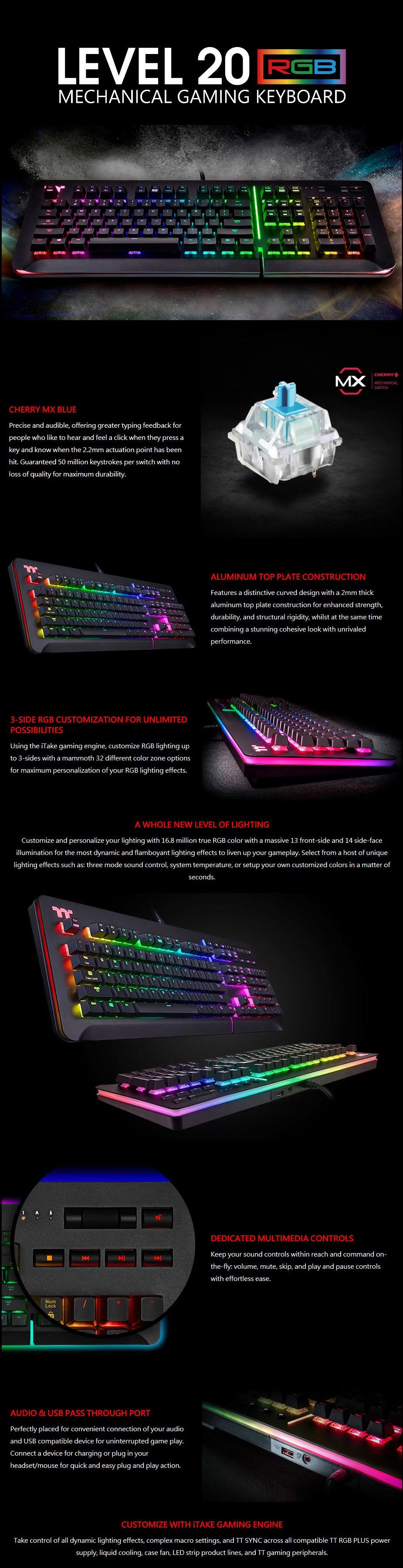 Thermaltake Level 20 RGB Mechanical Gaming Keyboard - Cherry MX Blue - Desktop Overview 1