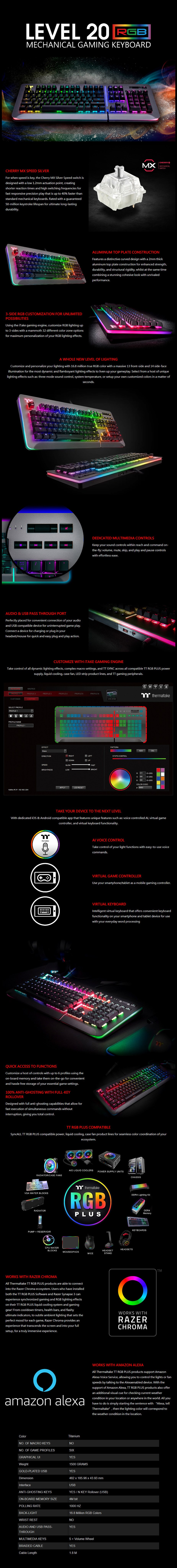 Thermaltake Level 20 RGB Titanium Mechanical Gaming Keyboard - Cherry MX Speed - Desktop Overview 1