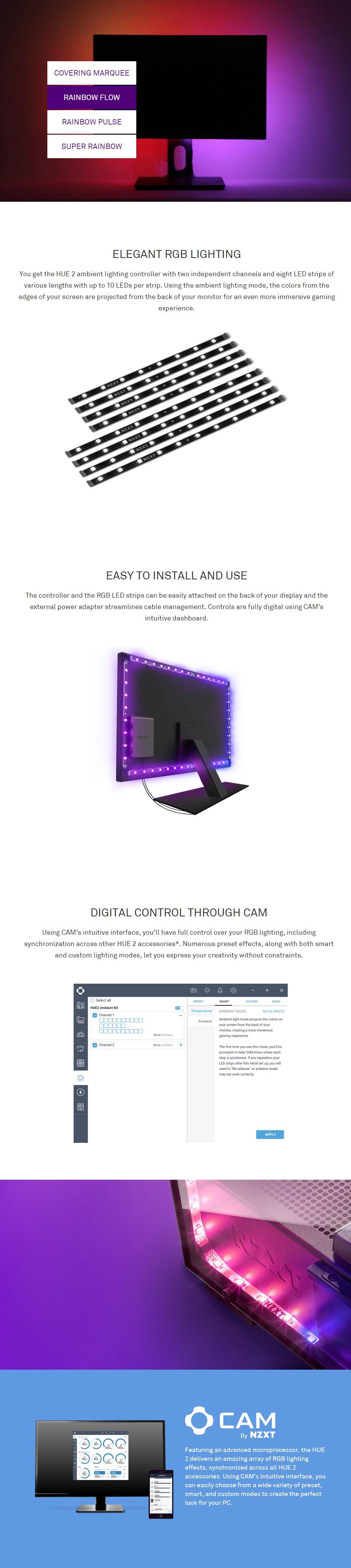 "NZXT HUE 2 Ambient RGB Lighting Kit (21""-26"") - Desktop Overview 1"