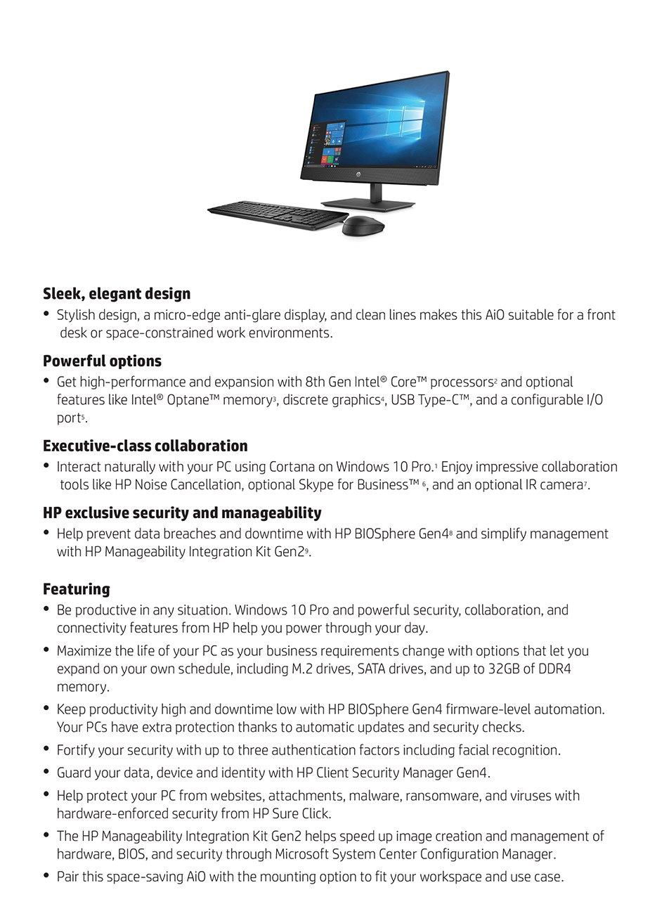"HP ProOne 400 G4 23.8"" AIO Desktop PC i5-8500T 8GB 256GB Win10 Pro - Non-Touch - Desktop Overview 1"