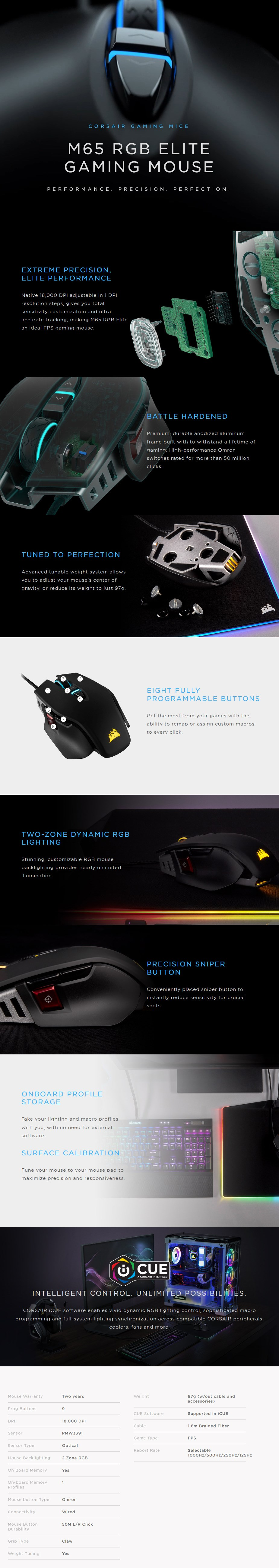 Corsair Gaming M65 RGB ELITE FPS Optical Gaming Mouse - Black - Desktop Overview 1