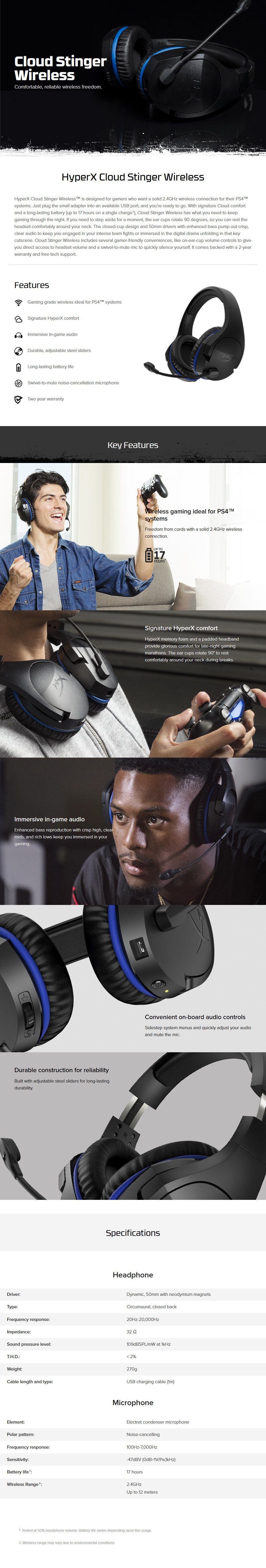 HyperX Cloud Stinger Wireless Gaming Headset for PS4 - Desktop Overview 1