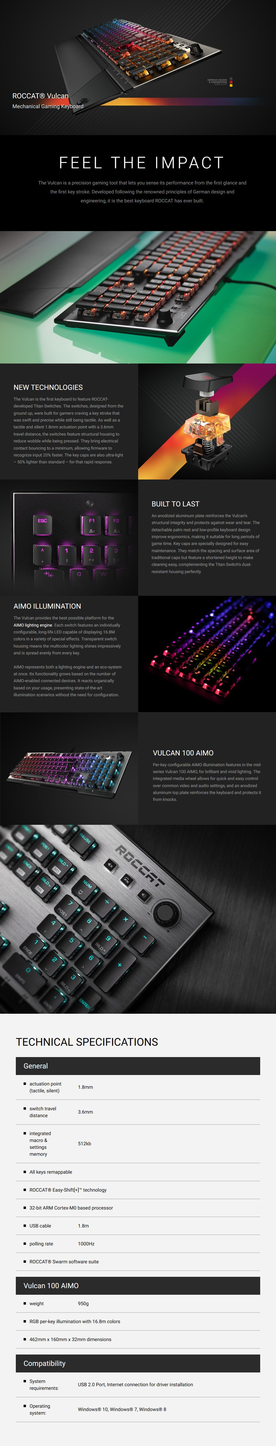 Roccat VULCAN 100 AIMO Mechanical Gaming Keyboard - Brown Titan Switches - Desktop Overview 1