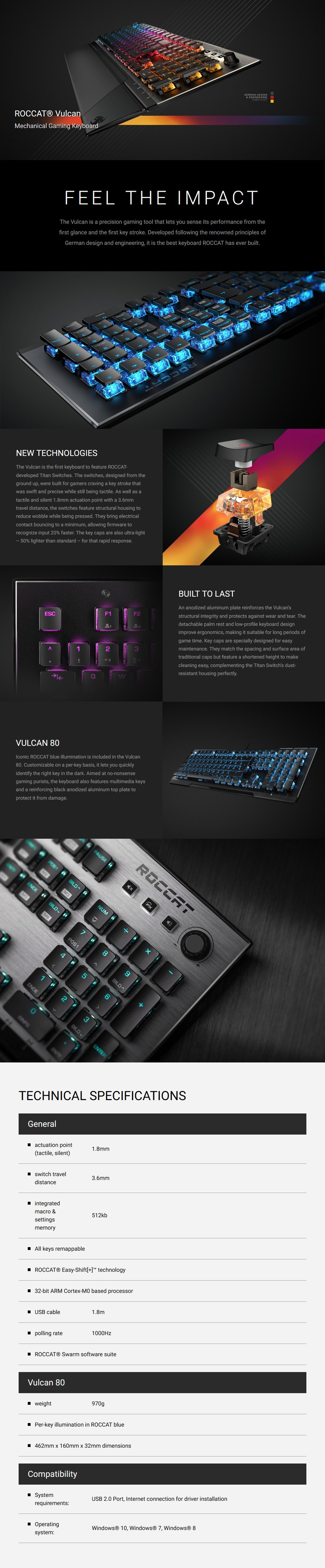 Roccat VULCAN 80 Mechanical Gaming Keyboard - Brown Titan Switches - Desktop Overview 1