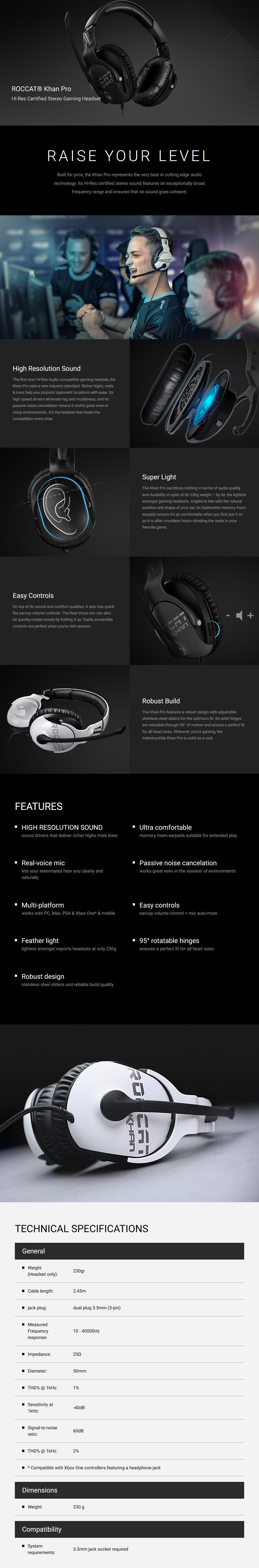 Roccat Khan Pro Competitive Gaming Headset - Grey - Desktop Overview 1