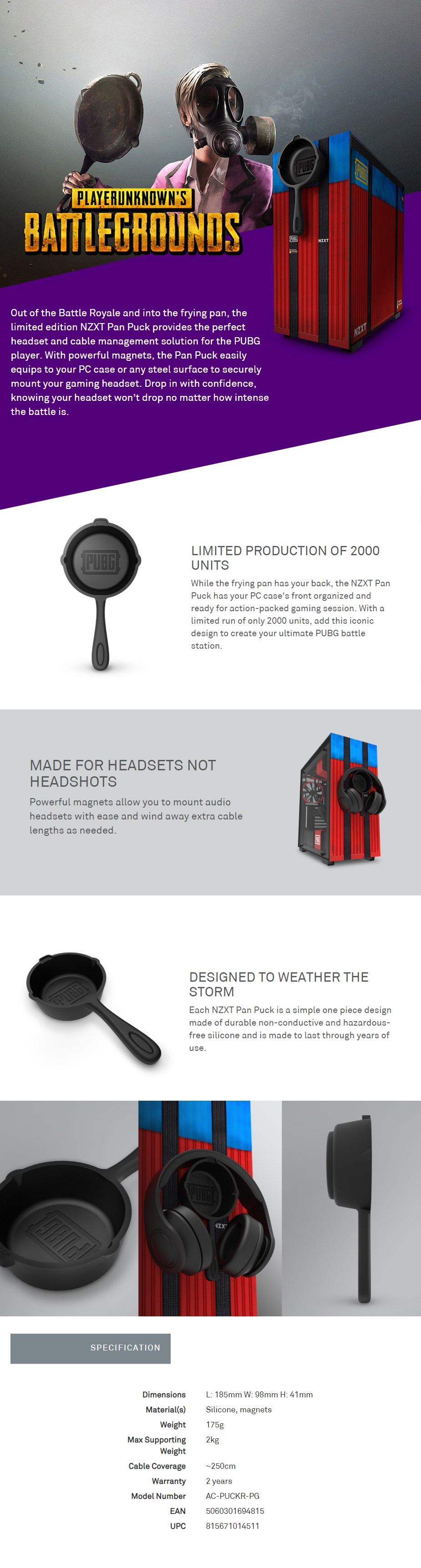 NZXT Pan Puck Cable Management & Headset-Mounting/Holder Solution - PUBG Edition - Desktop Overview 1