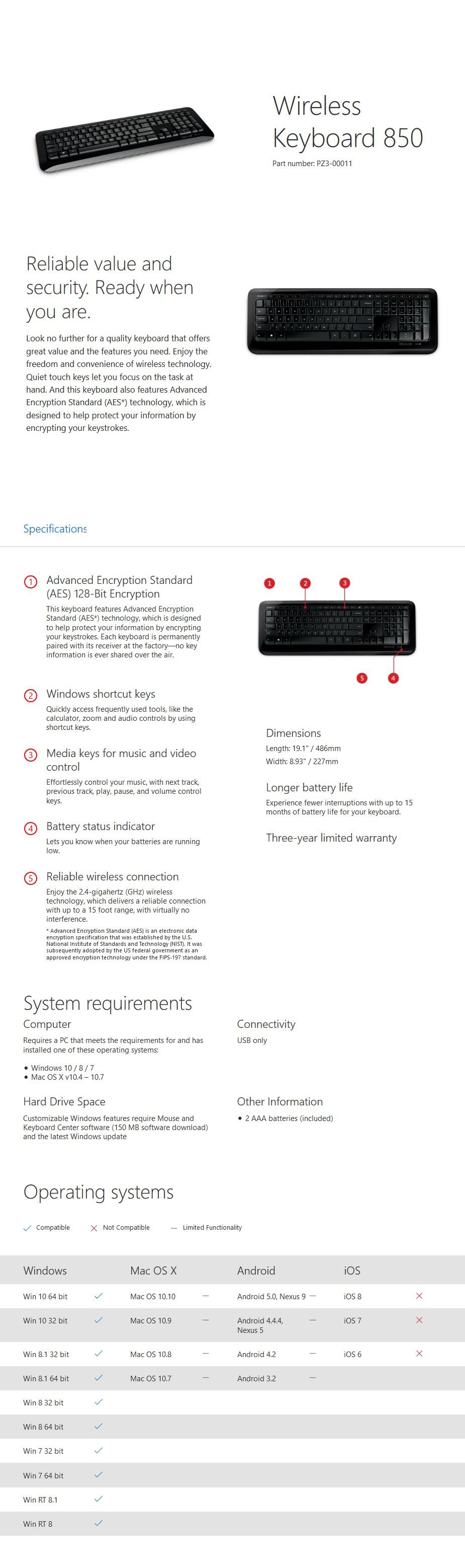 Microsoft Wireless Keyboard 850 - Black - Desktop Overview 1