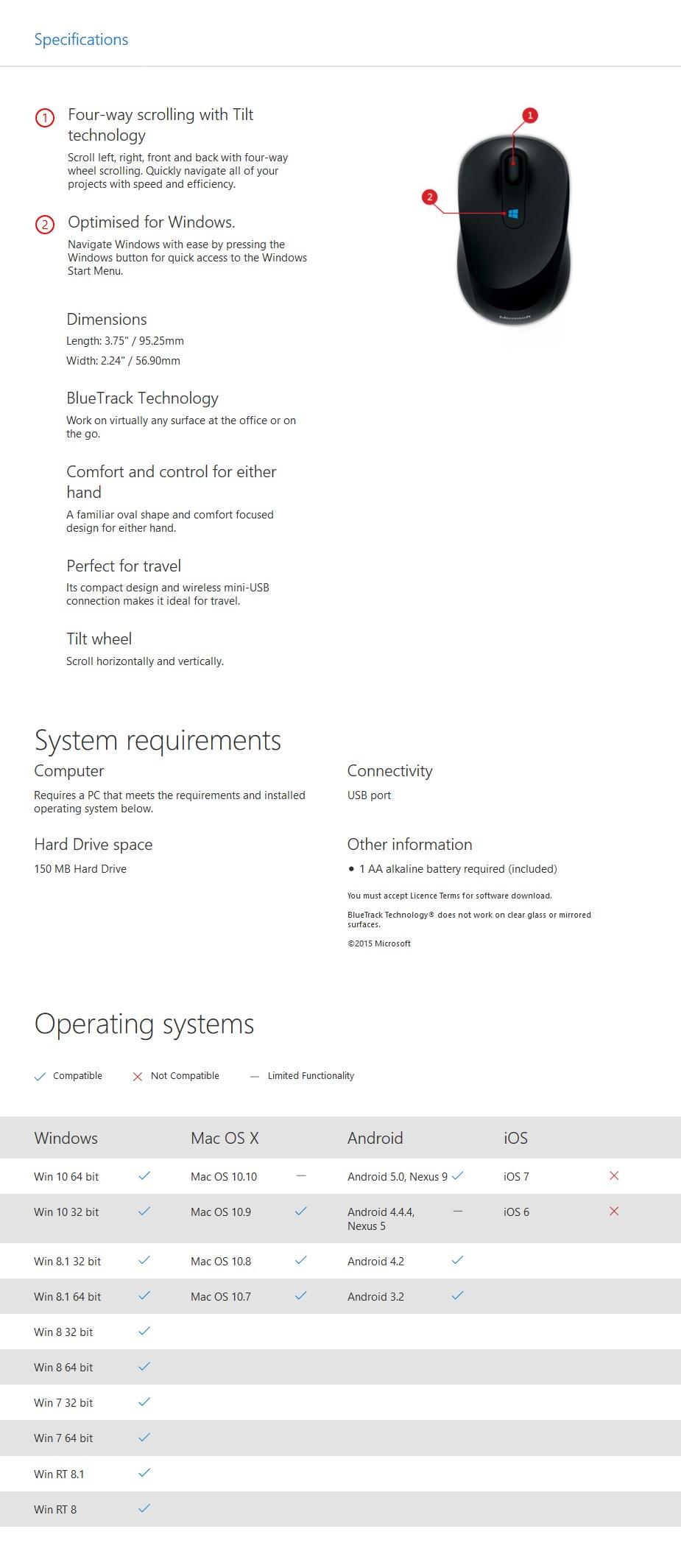 Microsoft Wireless Sculpt Mobile USB Optical Mouse - Pink - Desktop Overview 2