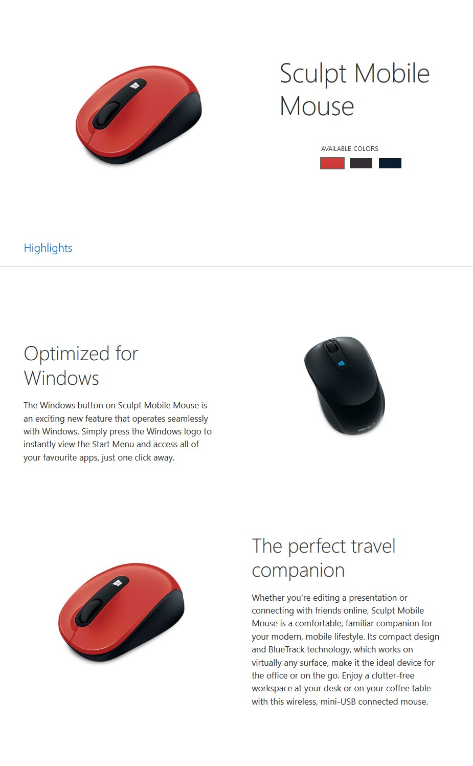 Microsoft Wireless Sculpt Mobile USB Optical Mouse - Red - Desktop Overview 1
