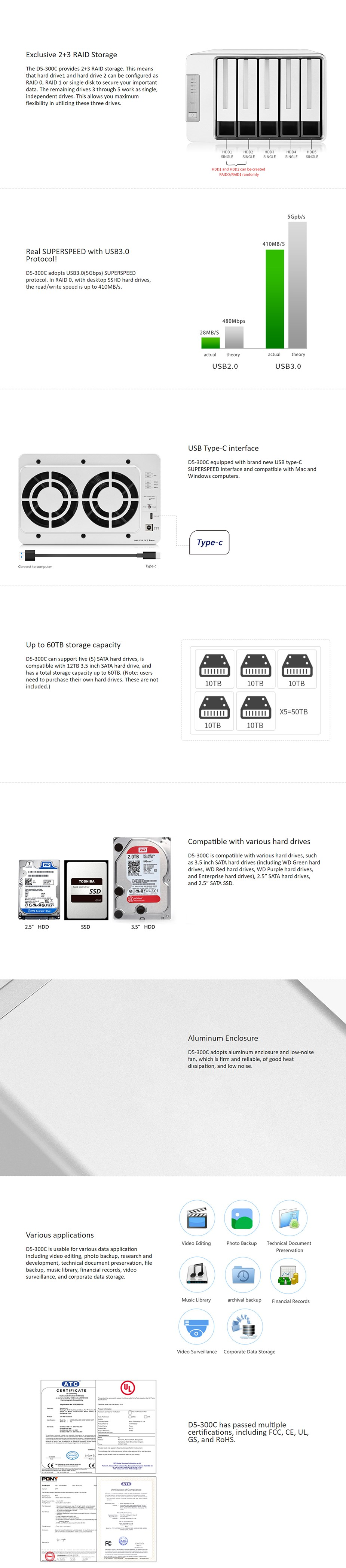 TerraMaster D5-300C 2+3 (5-Bay) USB 3.0 Type-C Raid Storage System - Desktop Overview 1