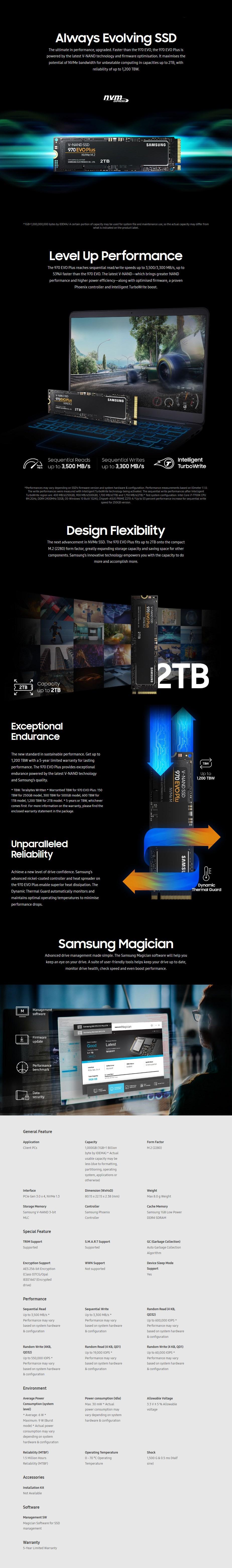 Samsung 970 EVO Plus 1TB NVMe 1.3 M.2 (2280) 3-Bit V-NAND SSD - MZ-V7S1T0BW - Desktop Overview 2