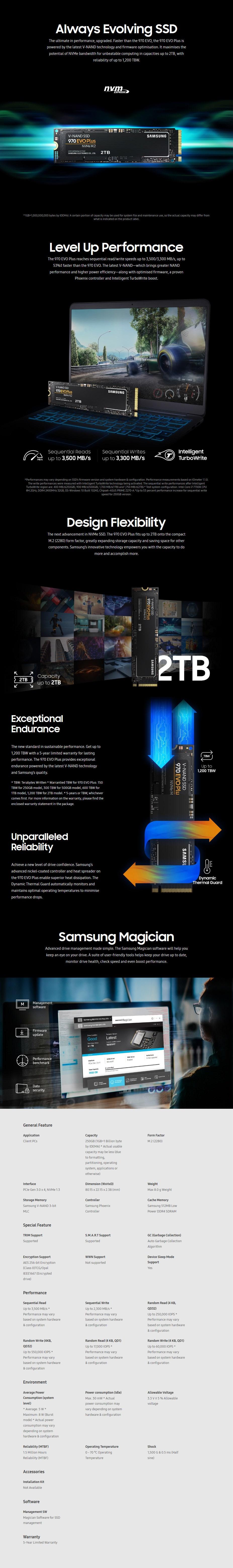 Samsung 970 EVO Plus 250GB NVMe 1.3 M.2 (2280) 3-Bit V-NAND SSD - MZ-V7S250BW - Desktop Overview 2