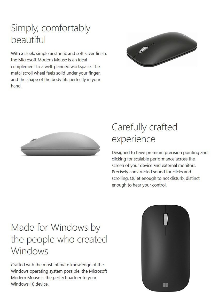 Microsoft Modern Mobile Bluetooth Mouse - Black - Desktop Overview 1