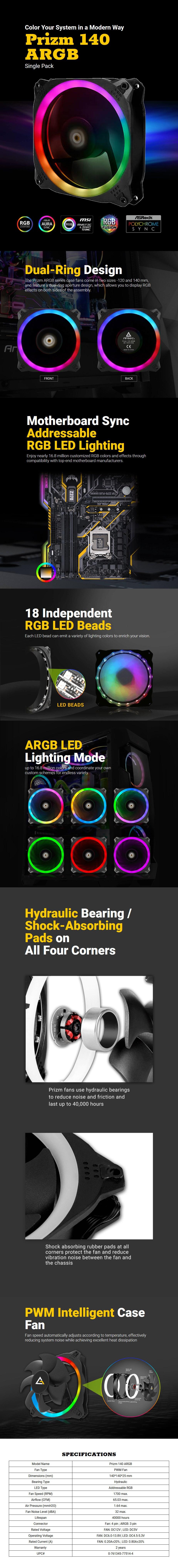 Antec Prizm 140 ARGB PWM Case Fan - Desktop Overview 1