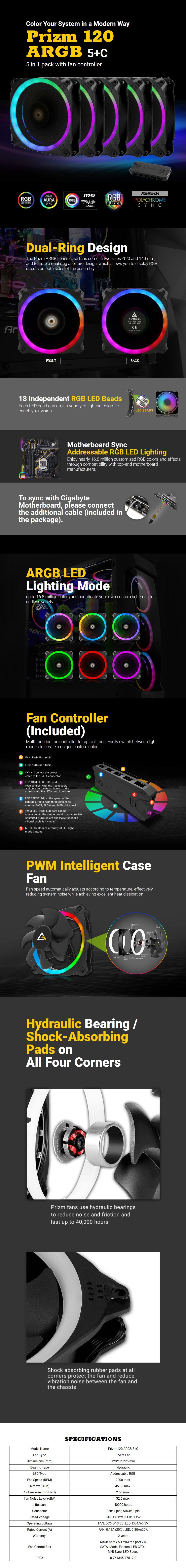 Antec Prizm 120 ARGB 5+C PWM Case Fan - 5 Pack with Controller - Desktop Overview 1