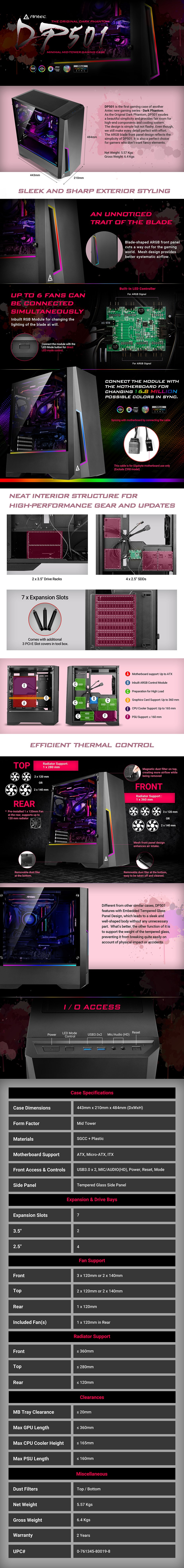 Antec DP501 ARGB Tempered Glass Mid-Tower ATX Case - Desktop Overview 1