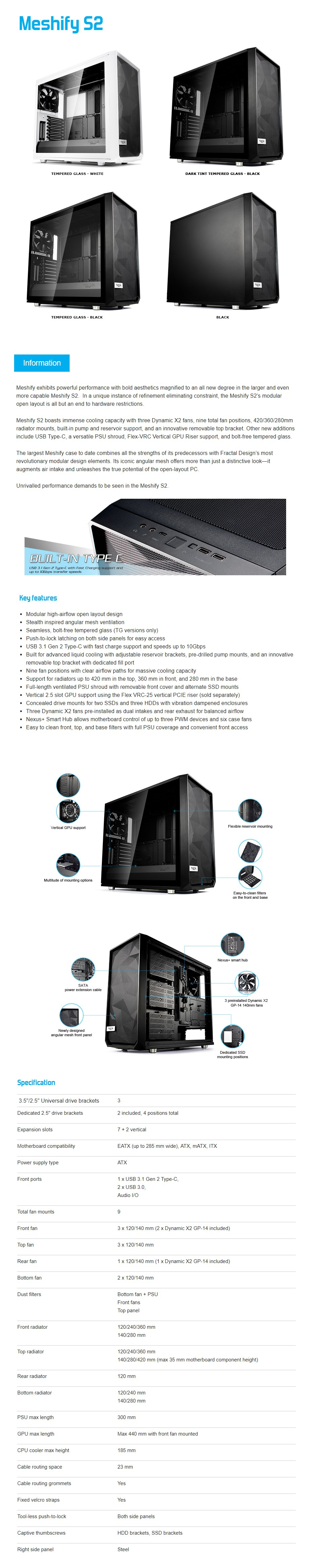 Fractal Design Meshify S2 Dark Tempered Glass USB-C Mid-Tower E-ATX Case - Black - Desktop Overview 1