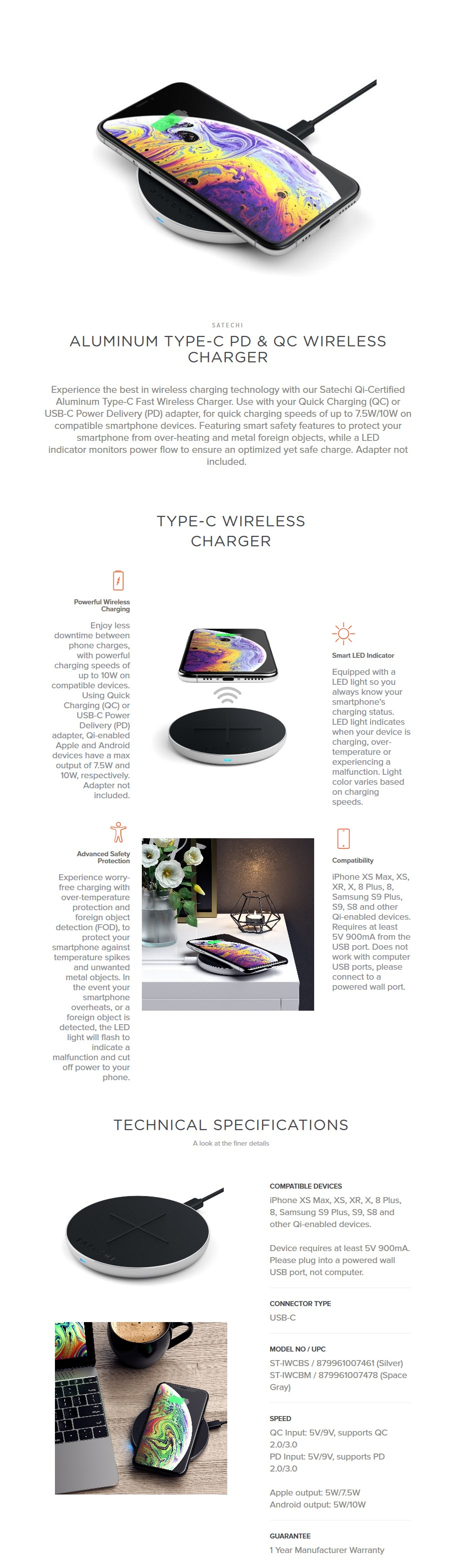 Satechi Aluminum Type C PD & QC Wireless Charger - Silver - Desktop Overview 1