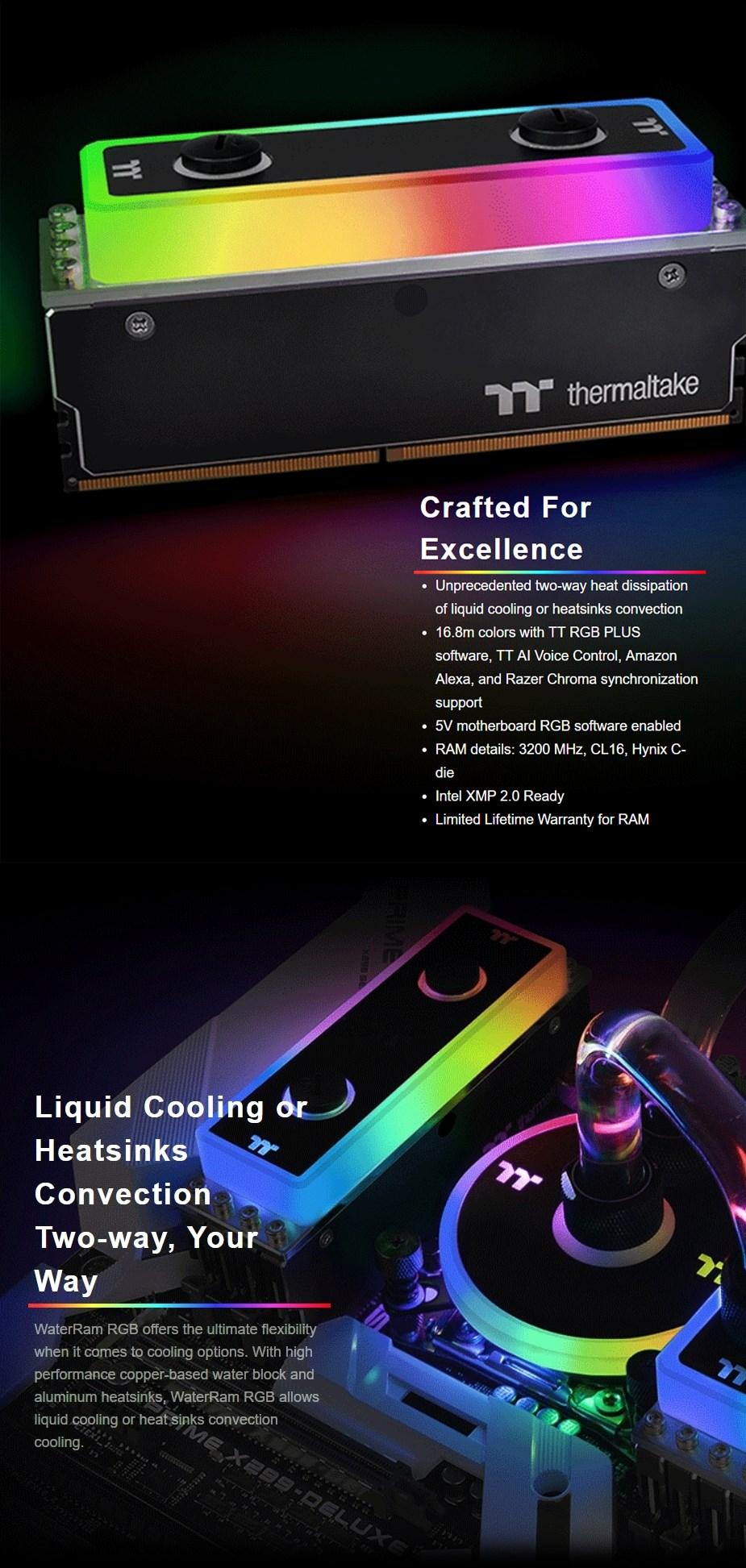 Thermaltake WaterRam 16GB (2x 8GB) 3200MHz DDR4 Liquid Cooled Memory - Desktop Overview 3