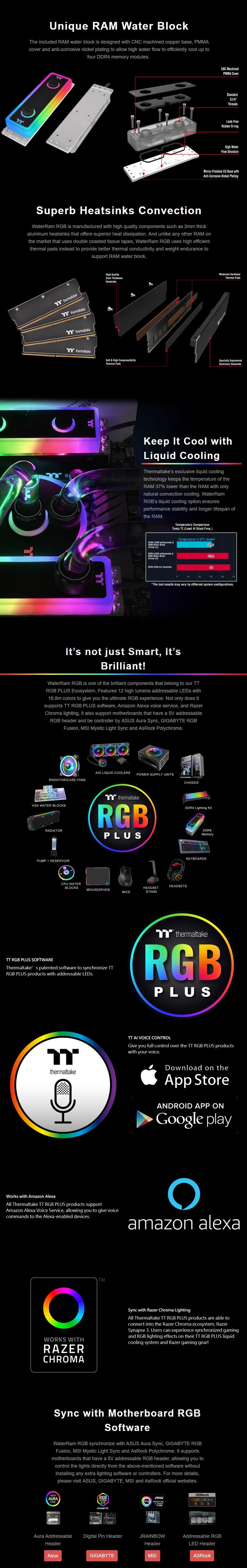 Thermaltake WaterRam 16GB (2x 8GB) 3200MHz DDR4 Liquid Cooled Memory - Desktop Overview 6