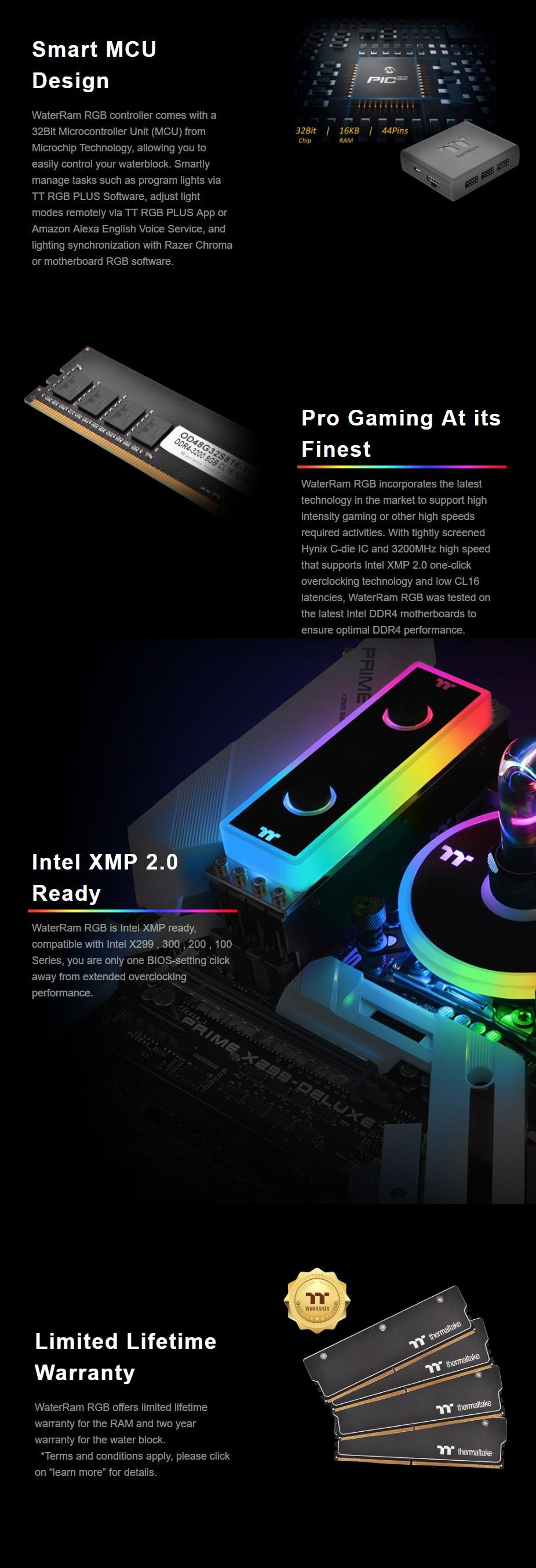 Thermaltake WaterRam 16GB (2x 8GB) 3200MHz DDR4 Liquid Cooled Memory - Desktop Overview 8