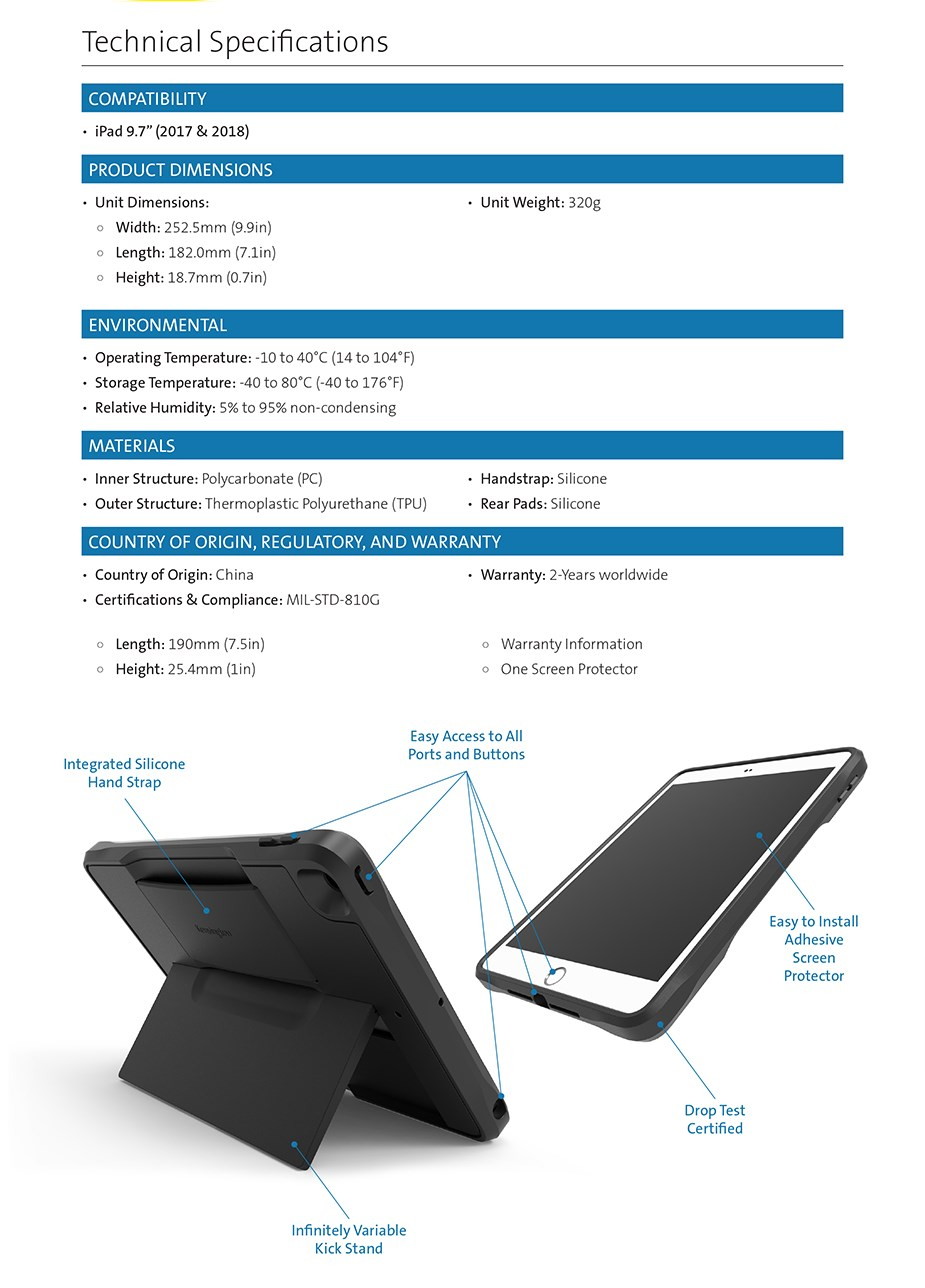 "Kensington BlackBelt 2nd Degree Rugged Case for iPad 9.7"" 2017 & 2018 - Desktop Overview 2"