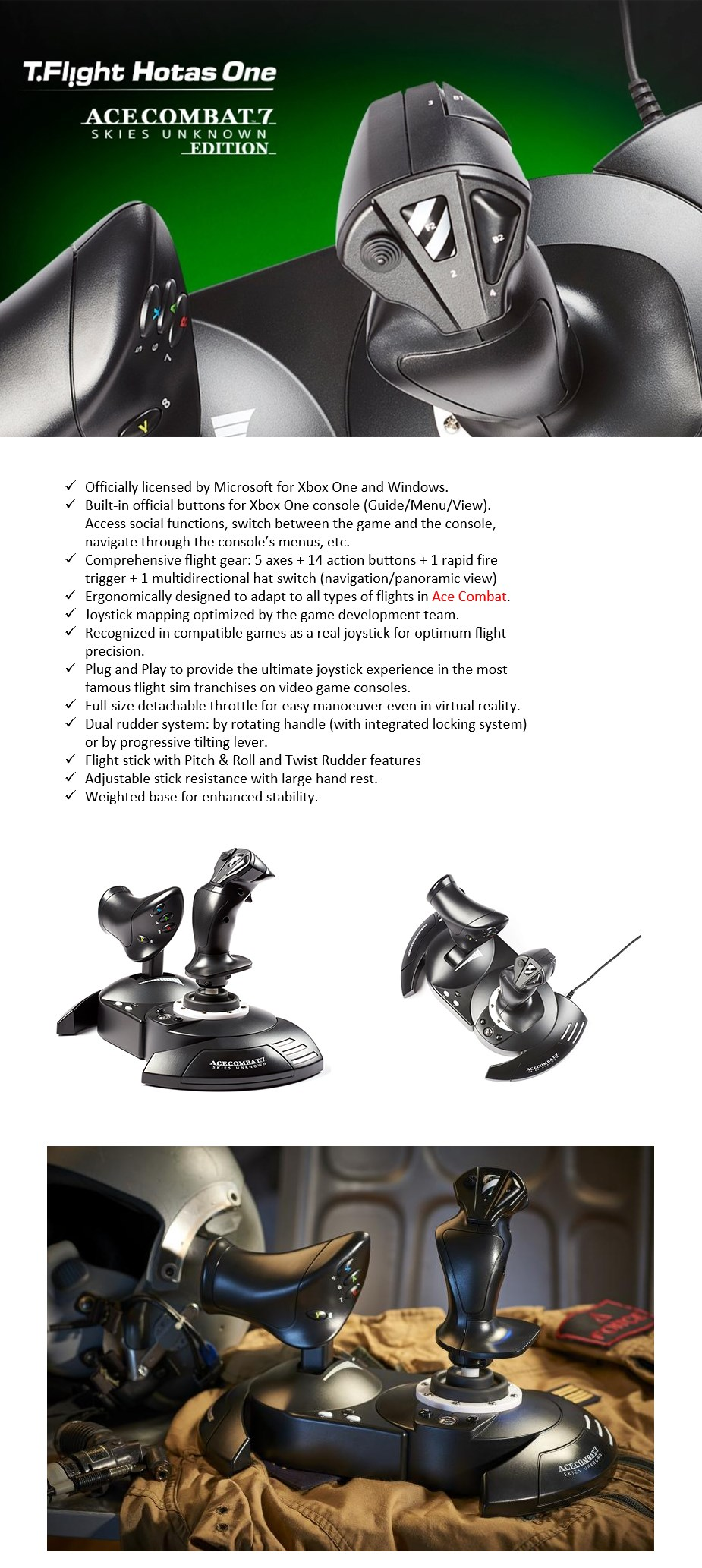 Thrustmaster T-Flight Hotas One Ace Combat 7 Edition For PC & Xbox One - Desktop Overview 1