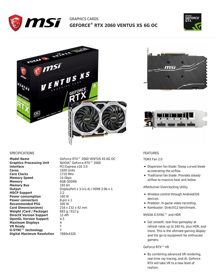 MSI GeForce RTX 2060 VENTUS XS OC 6GB Video Card - Desktop Overview 2