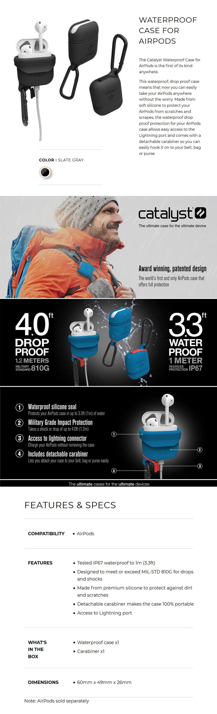 Catalyst Waterproof Case for Airpods - Slate Gray - Desktop Overview 1