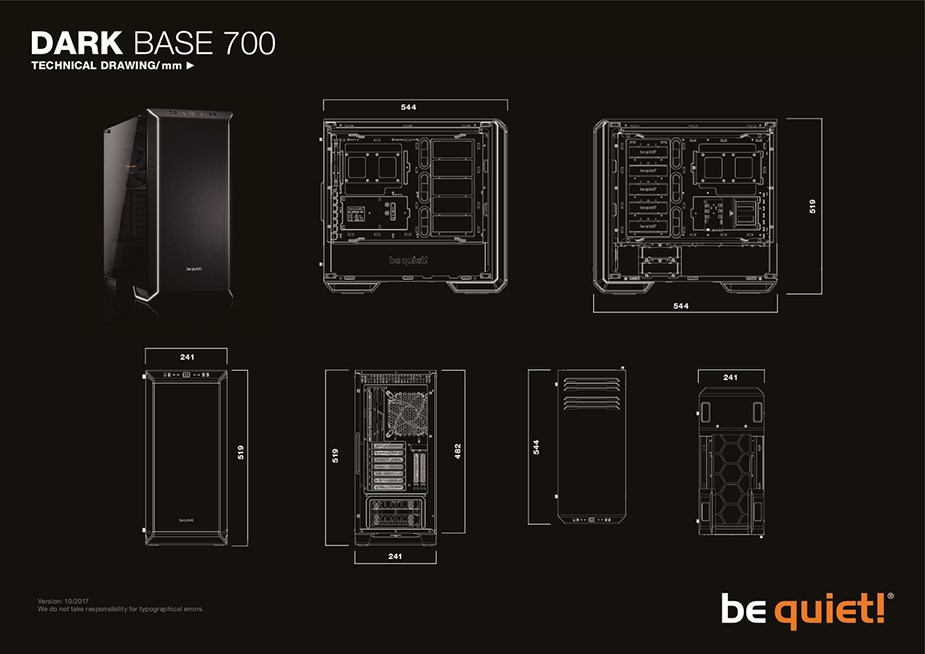 be quiet! Dark Base 700 RGB Tempered Glass Mid-Tower E-ATX Case - Black - Desktop Overview 2