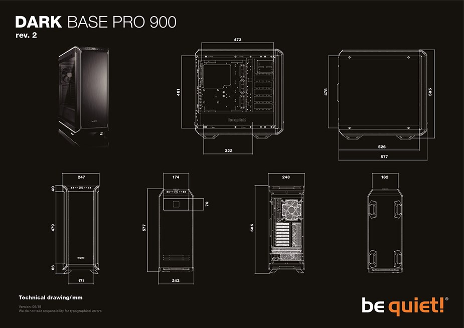 be quiet! Dark Base Pro 900 v2 Tempered Glass LED Mid-Tower E-ATX Case - Black - Desktop Overview 2