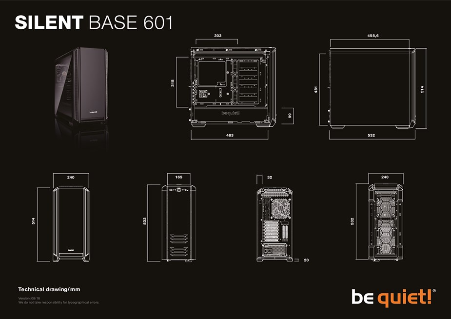 be quiet! Silent Base 601 Tempered Glass Mid-Tower E-ATX Case - Black - Desktop Overview 2