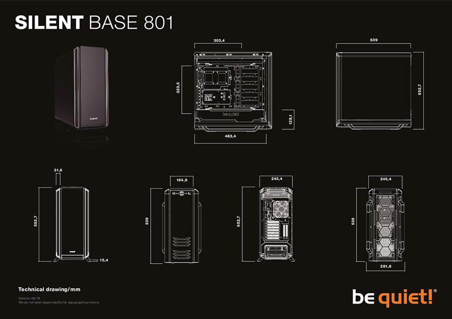 be quiet! Silent Base 801 Mid-Tower E-ATX Case - Black - Desktop Overview 2