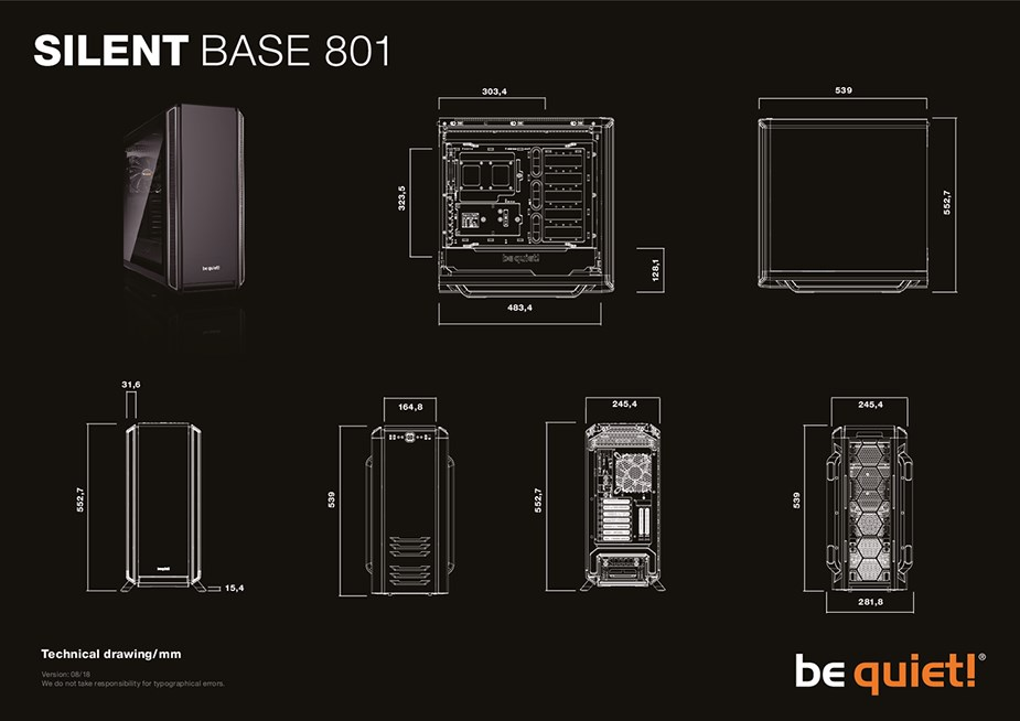 be quiet! Silent Base 801 Tempered Glass Mid-Tower E-ATX Case - Orange - Desktop Overview 2