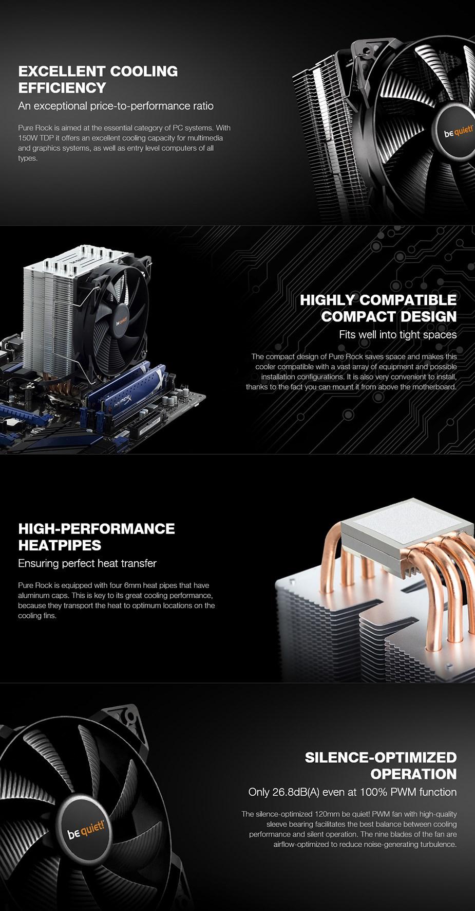 be quiet! Pure Rock CPU Air Cooler - Desktop Overview 1